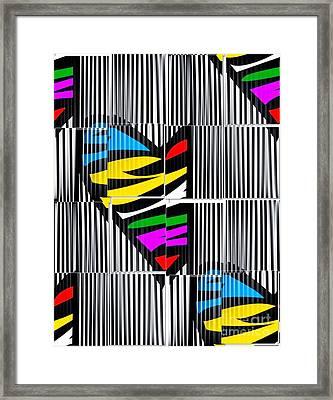 Memory Popart Heart By Nico Bielow  Framed Print by Nico Bielow