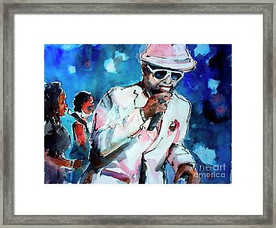 Framed Print featuring the painting Memphis Music Legend William Bell On Stage 1 by Ginette Callaway
