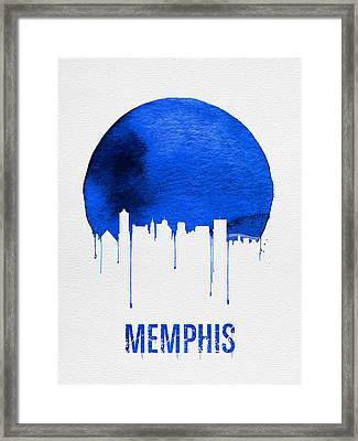 Memphis Skyline Blue Framed Print by Naxart Studio