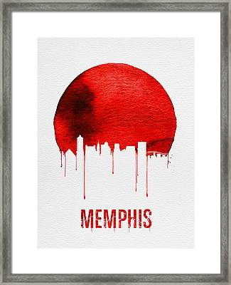 Memphis Skyline Red Framed Print by Naxart Studio