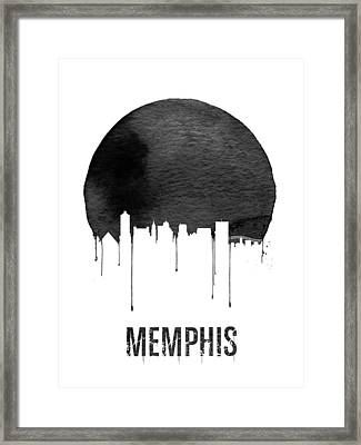 Memphis Skyline White Framed Print by Naxart Studio