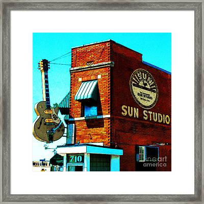 Memphis Sun Studio Birthplace Of Rock And Roll 20160215sketch Sq Framed Print by Wingsdomain Art and Photography