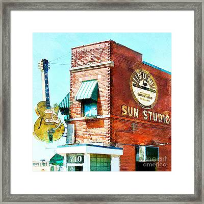 Memphis Sun Studio Birthplace Of Rock And Roll 20160215wcstyle Square Framed Print by Wingsdomain Art and Photography