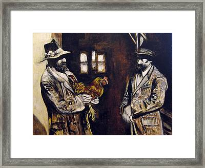 Men And Hen After A Photograph Shown On Pbs  Framed Print by Vladimir Kezerashvili
