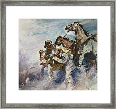 Men And Horses Battling A Storm Framed Print by James Edwin McConnell
