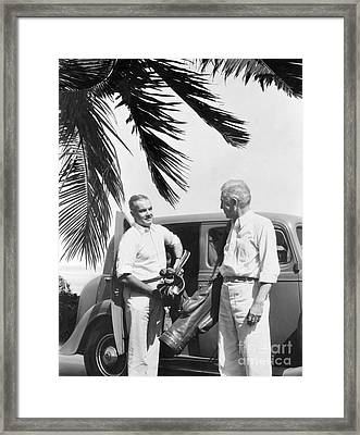 Men Arriving At Golf Course, C.1930s Framed Print by H. Armstrong Roberts/ClassicStock