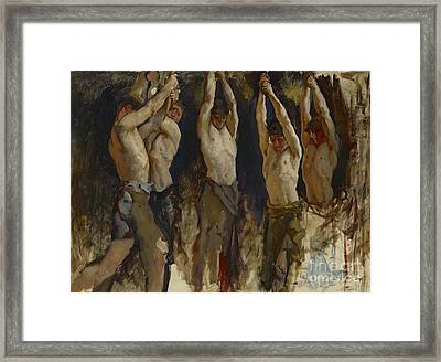 Men At An Anvil, Study For The Spirit Of Vulcan Framed Print by Edwin Austin Abbey