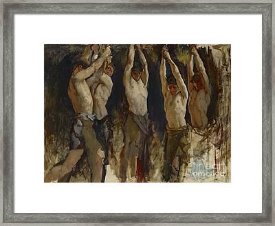 Men At An Anvil, Study For The Spirit Of Vulcan Framed Print