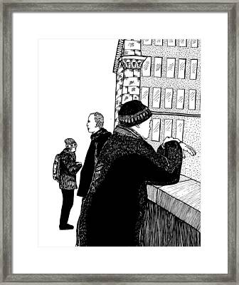 Men At Berlin Bridge Framed Print