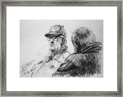 Men At Tims Cafe Framed Print