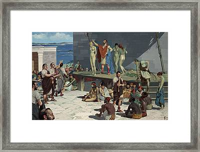 Men Bid On Women At A Slave Market Framed Print