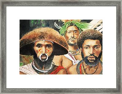 Men From New Guinea Framed Print by Judy Swerlick