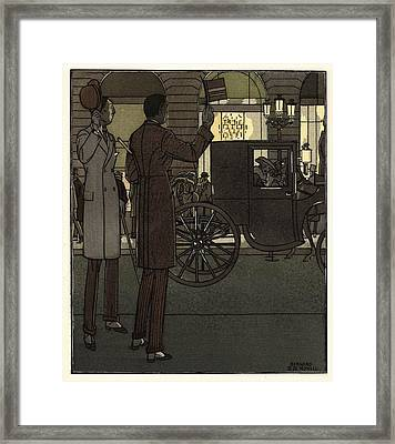 Men Gesturing To Carriage At Night Framed Print by Gillham Studios