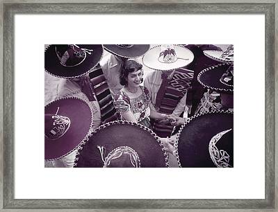 Men In Sombreros Surround A Woman Framed Print by B. Anthony Stewart