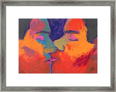 Men Kissing Colorful 2 Framed Print