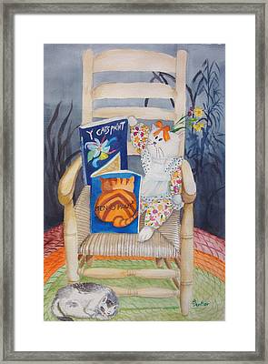 Framed Print featuring the painting Men-o-paws by Anne Dentler