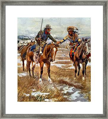 Men Shaking Hands On Horseback Framed Print by Charles Marion Russell