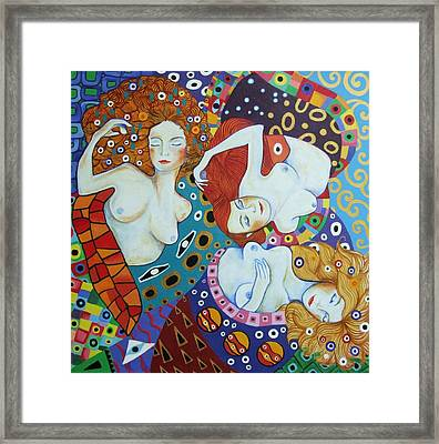 Menage A Trois Framed Print by Anni Morris