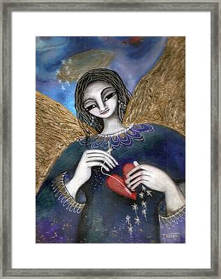 Framed Print featuring the mixed media Mender Of Hearts Angel by Prerna Poojara