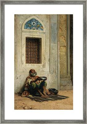 Mendicant At The Mosque Door Framed Print by Eastern Accent