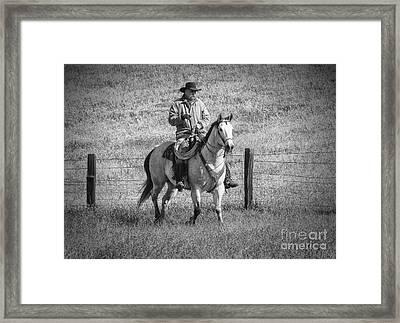 Mending Fences - Montana Framed Print by Sandra Bronstein