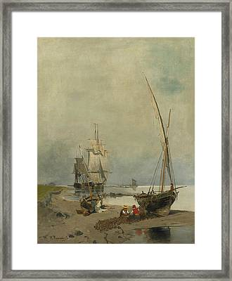 Mending The Nets Framed Print by Konstantinos Volanakis
