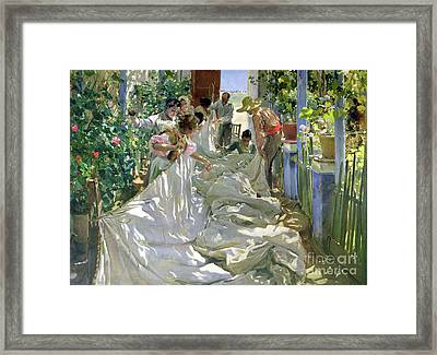 Mending The Sail Framed Print by Joaquin Sorolla y Bastida