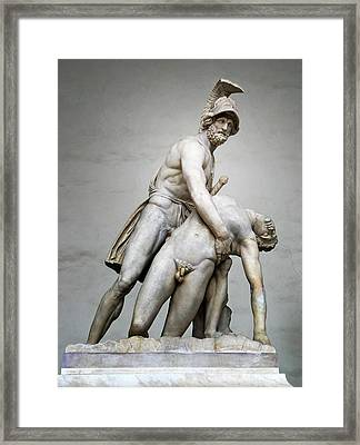 Menelaus And Patroclus Sculpture Framed Print by Artecco Fine Art Photography