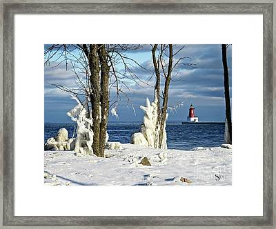 Menominee Lighthouse Ice Sculptures Framed Print