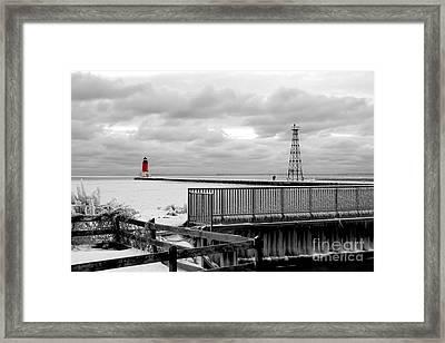 Menominee North Pier Lighthouse On Ice Framed Print
