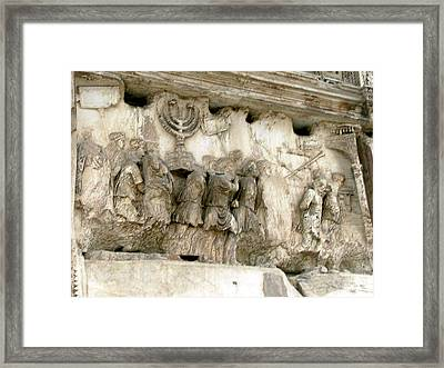 Menorah On The Arch In Roma Framed Print by Mindy Newman
