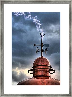 Menorca Copper Lighthouse Dome With Lightning Rod Under A Bluish And Stormy Sky And Lightning Effect Framed Print by Pedro Cardona