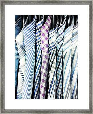 Men's Shirts Hanging Framed Print by Tom Gowanlock