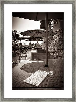 Menu On Table In Black And White Framed Print