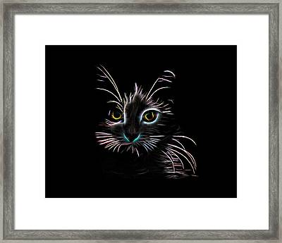 Framed Print featuring the digital art Meow  by Aaron Berg