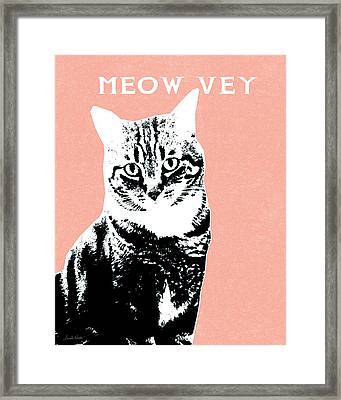Meow Vey- Art By Linda Woods Framed Print