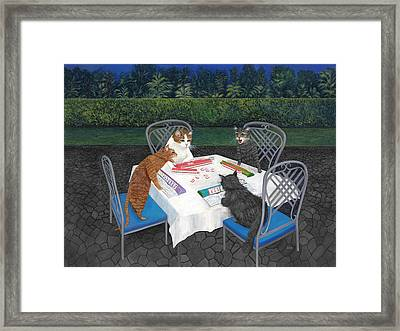Framed Print featuring the painting Meowjongg - Cats Playing Mahjongg by Karen Zuk Rosenblatt