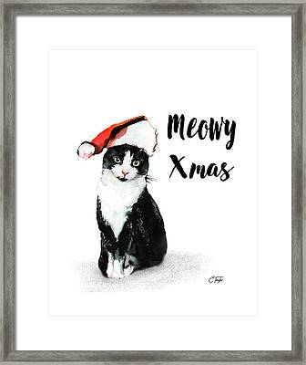 Framed Print featuring the painting Meowy Xmas by Colleen Taylor