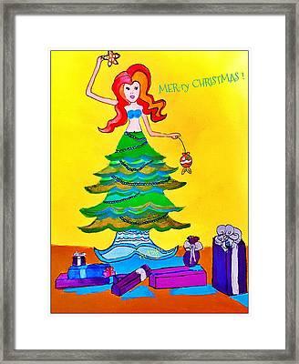 Mer-ry Christmas Mermaid   Framed Print