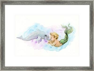 Merboy Kiss Framed Print