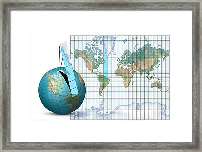 Mercator Map Projection, Diagram Framed Print by Claus Lunau