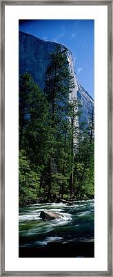 Merced River And El Capitan Yosemite Framed Print by Panoramic Images