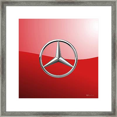 Mercedes-benz - 3d Badge On Red Framed Print by Serge Averbukh
