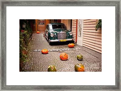 Mercedes Benz Car And Pumpkins Framed Print by Arletta Cwalina
