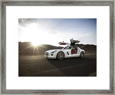 Mercedes Benz Sls Amg In Saudi Arabia Framed Print
