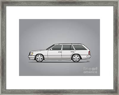 Mercedes Benz W124 T124 300te E-class White Estate Wagon Framed Print