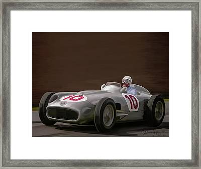 Mercedes-benz W196 Number 10 Framed Print by Wally Hampton