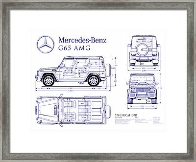 Mercedes G65 Amg Blueprint Framed Print