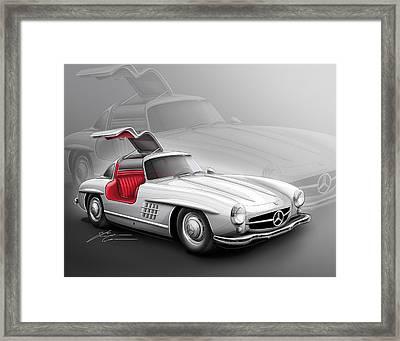 Mercedes Gullwing 300sl 1955 Framed Print by Etienne Carignan