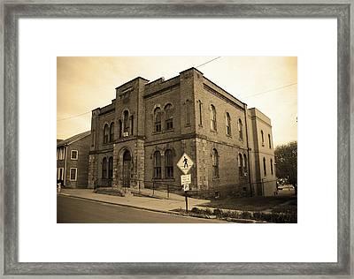 Mercer, Pa - Vintage Building 2008 Sepia Framed Print